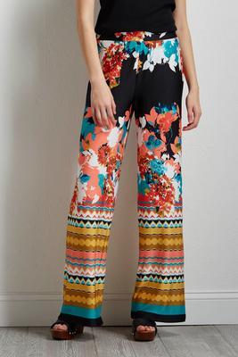 border floral palazzo pants