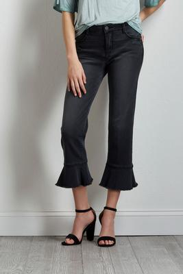 cropped frayed ruffle jeans