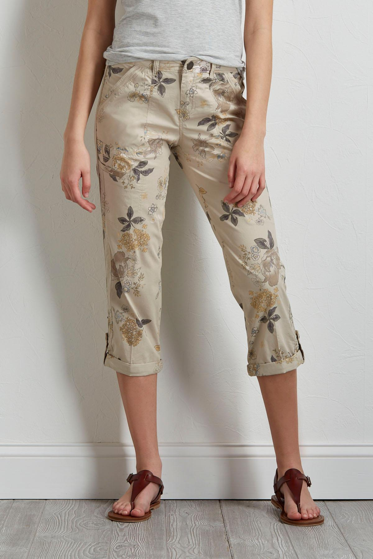 Cropped Floral Utility Pants