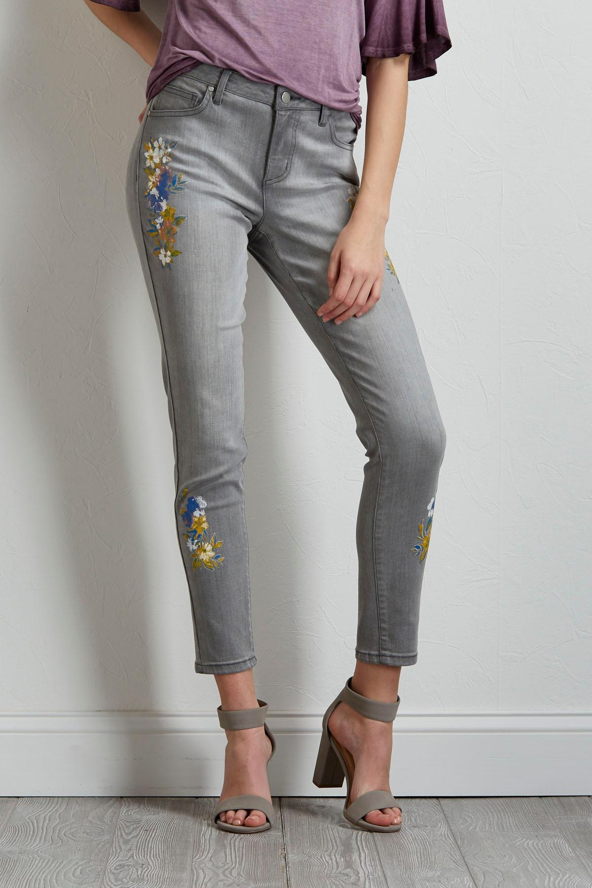 Painted Floral Skinny Jeans