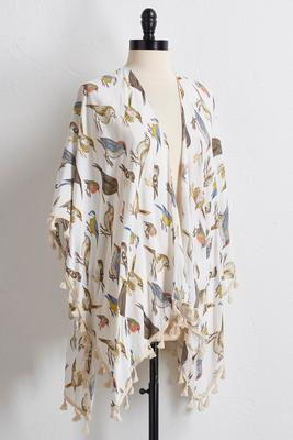 tasseled bird print kimono