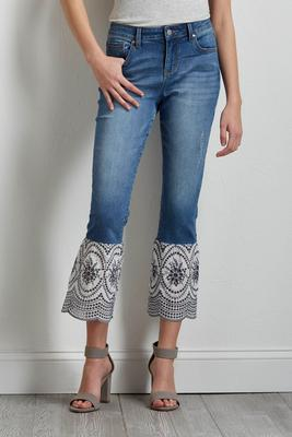 eyelet flare hem cropped jeans