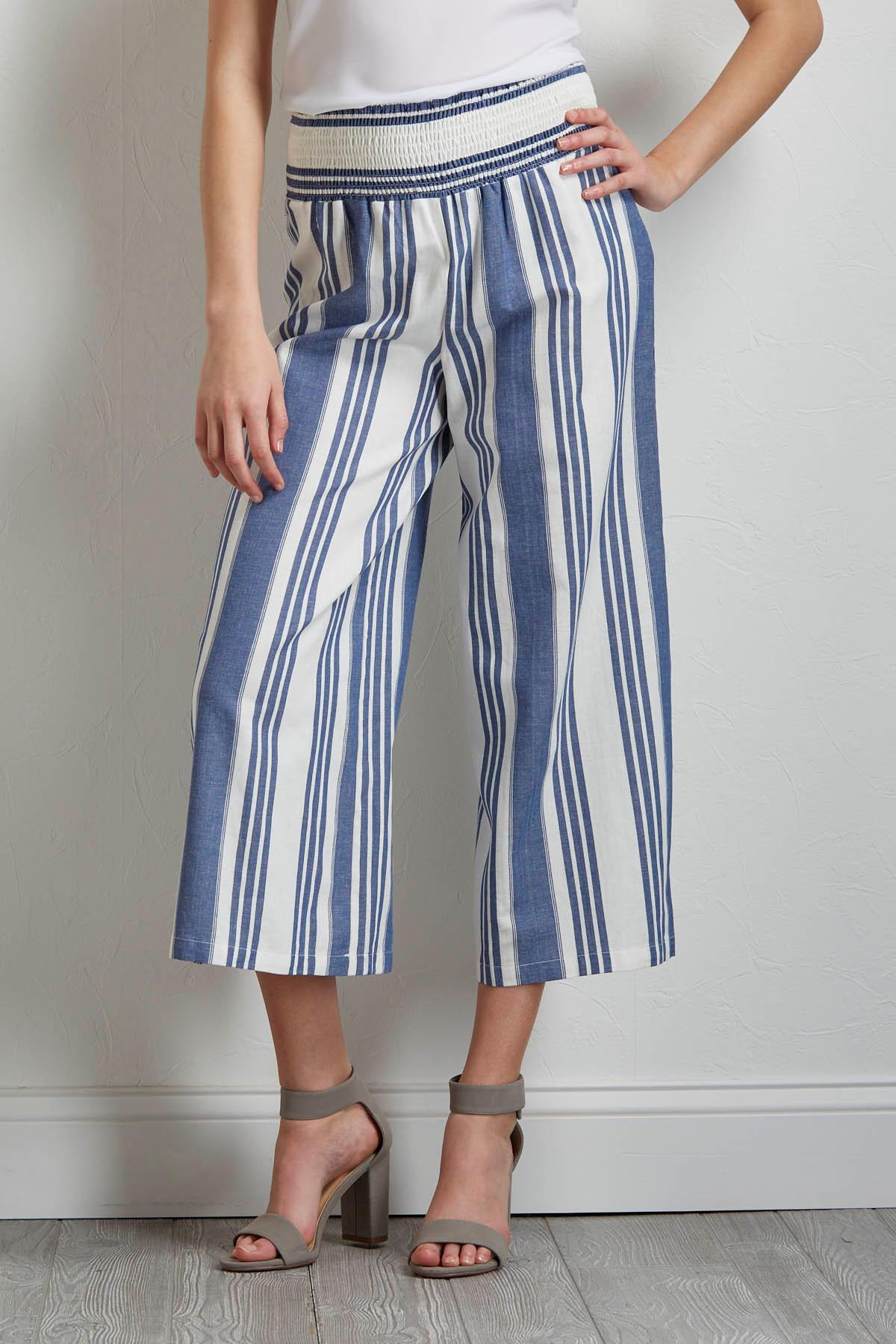 Cropped Striped Wide Leg Pants