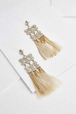 statement rhinestone feather earrings