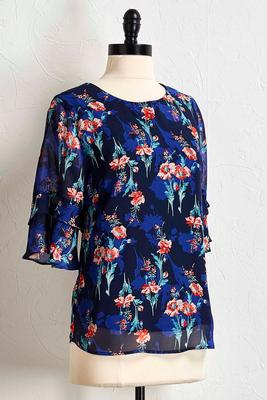 floral tiered bell sleeve top