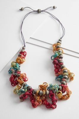 wooden loops and beads necklace