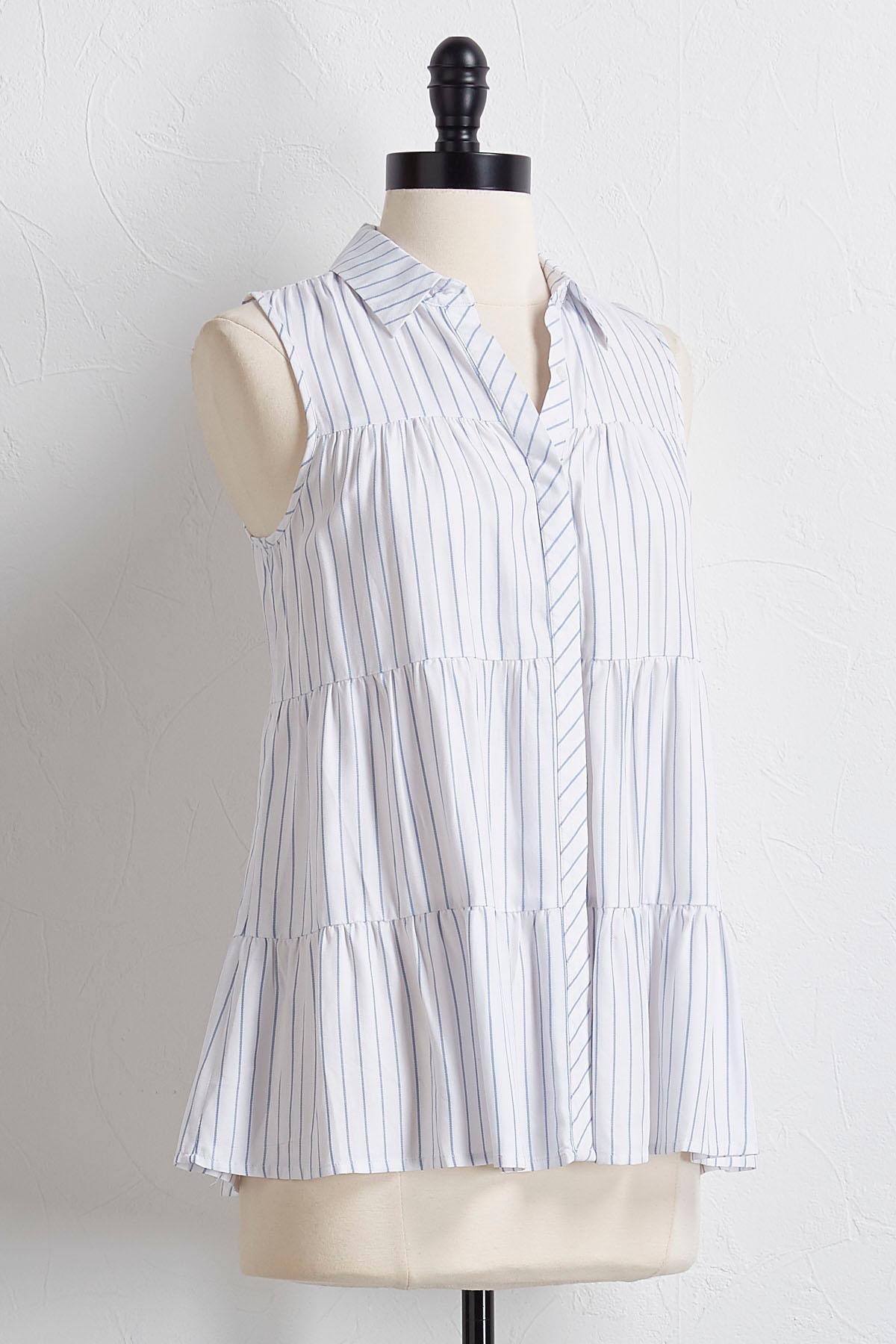 Tiered Stripe Button Down Shirt