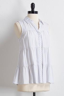 tiered stripe button down shirt