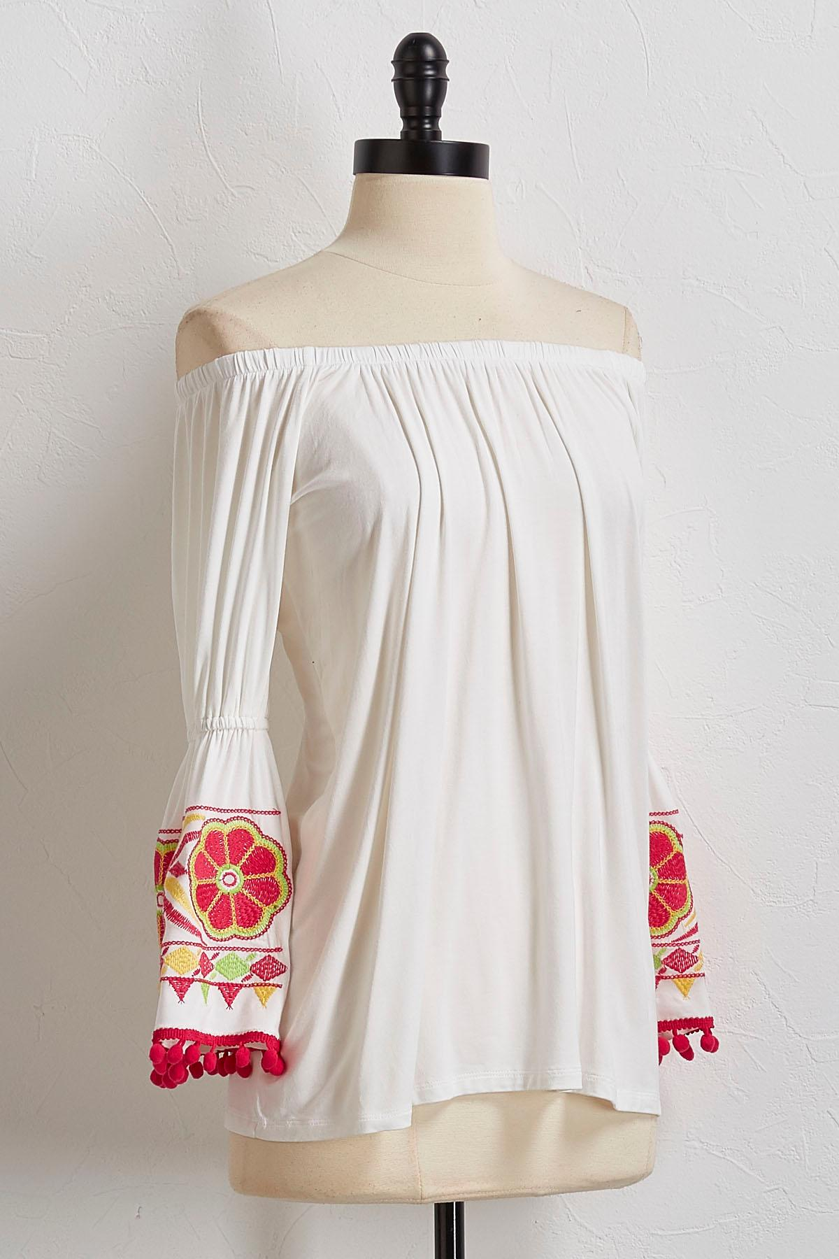 Embroidered Pom- Pom Off The Shoulder Top