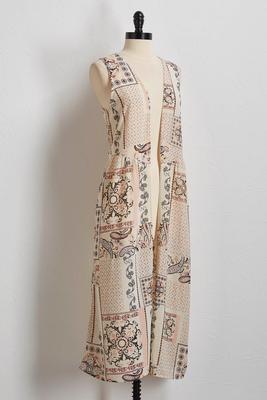 paisley patchwork duster vest