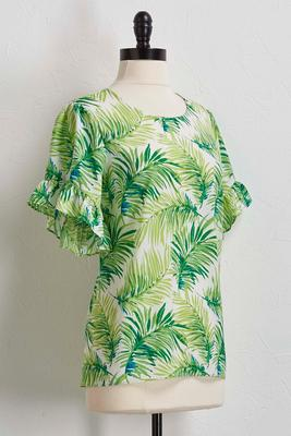 palm ruffled sleeve top