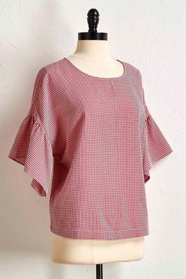 gingham flounced sleeve top