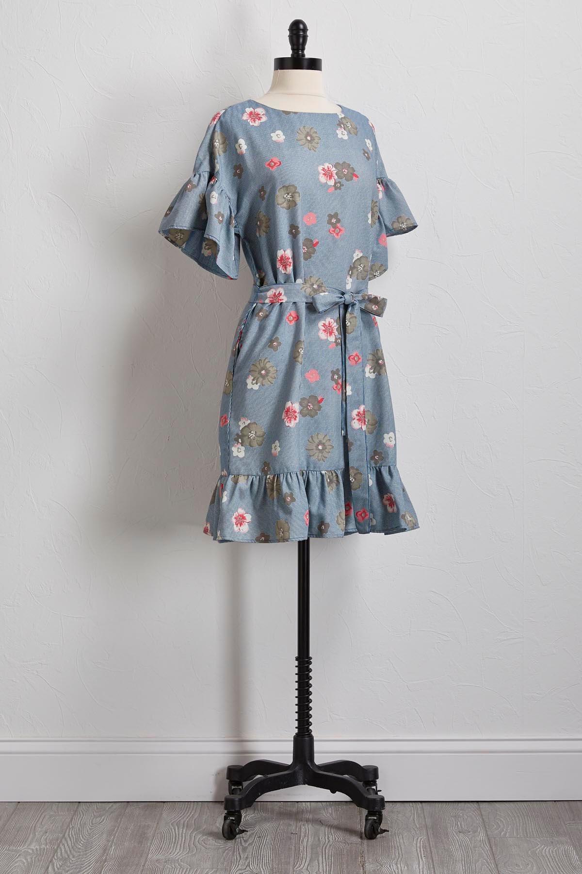 Floral Stripe Tie Waist Dress