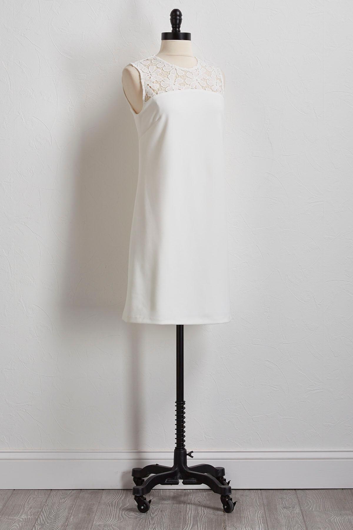 Crochet Yoke Shift Dress