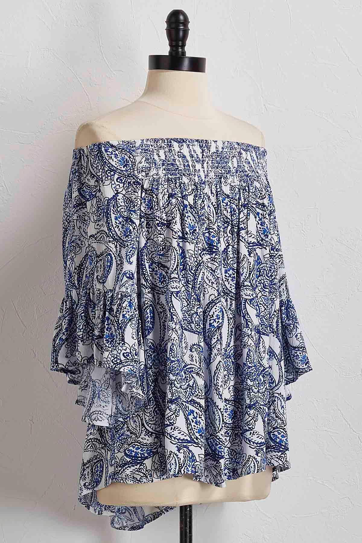 Paisley Smocked Off The Shoulder Top