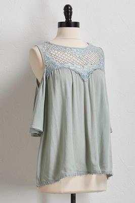 bare shoulder crepe woven top