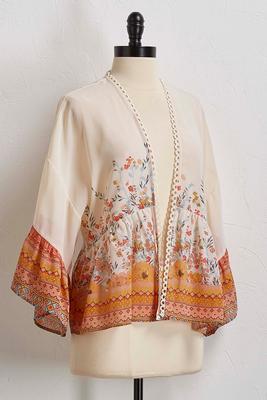 aztec floral kimono top