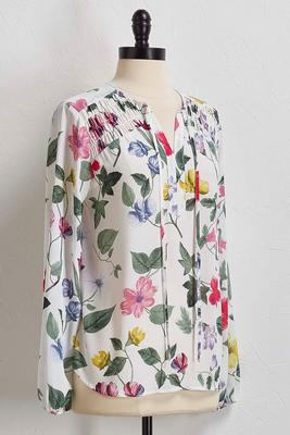 floral smocked poet top