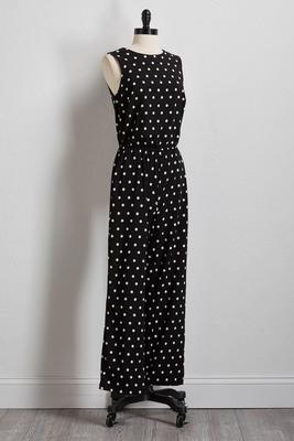 polka-dot tie back jumpsuit