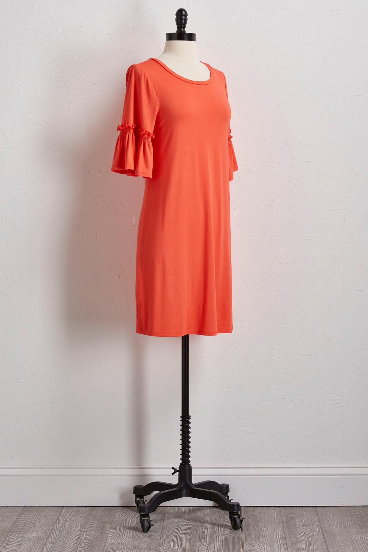 Ruffled Sleeve Shirt Dress