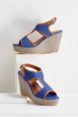 denim cutout wedges