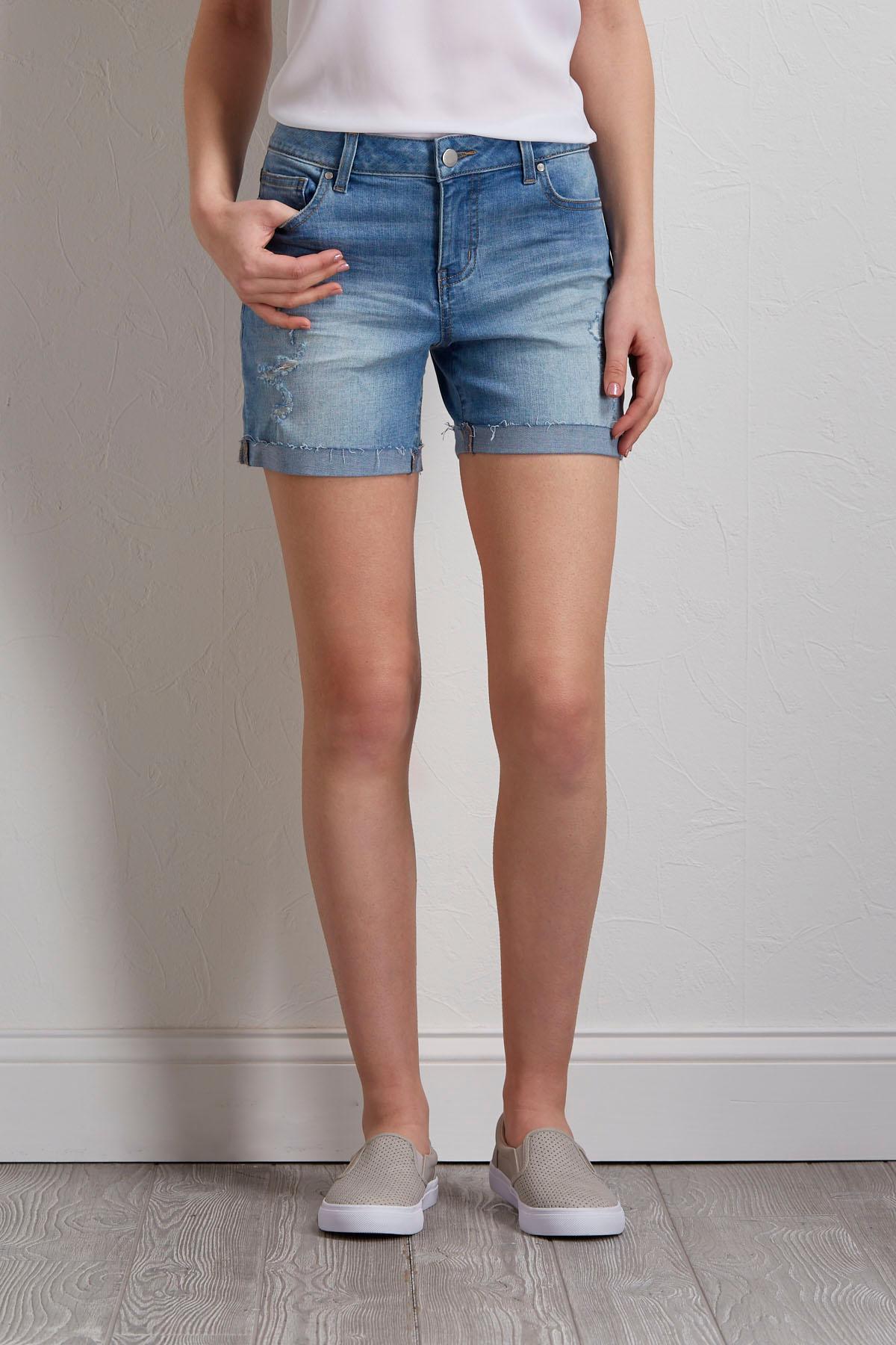 Destructed Denim Shorts