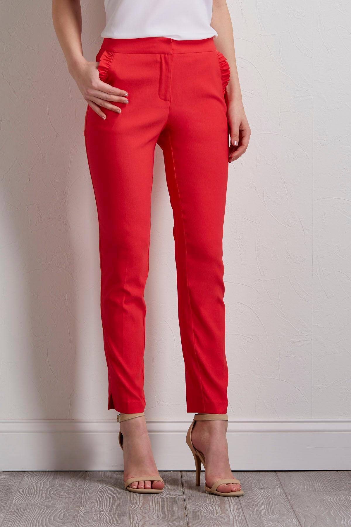 Ruffled Pocket Slim Ankle Pants