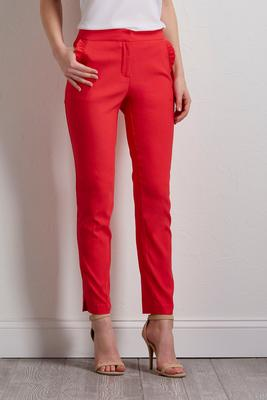 ruffled pocket slim ankle pants