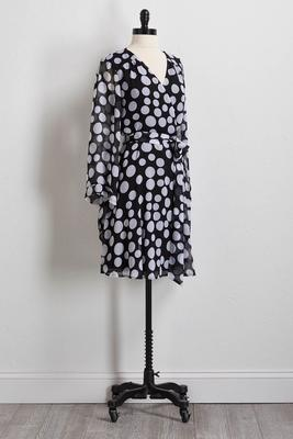 polka dot faux wrap dress