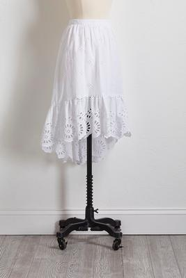 white eyelet high-low ruffle skirt