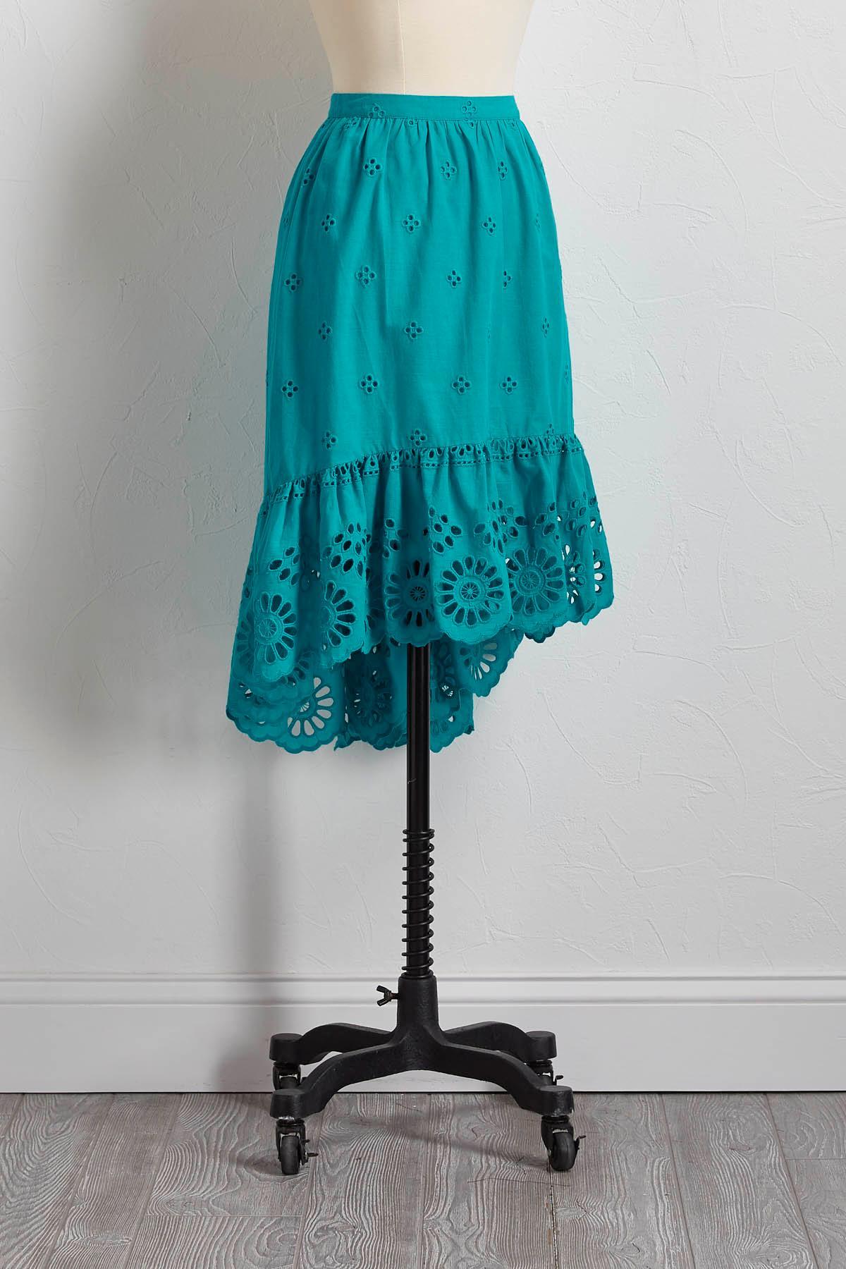 Eyelet High- Low Ruffle Skirt