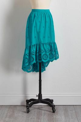 eyelet high-low ruffle skirt