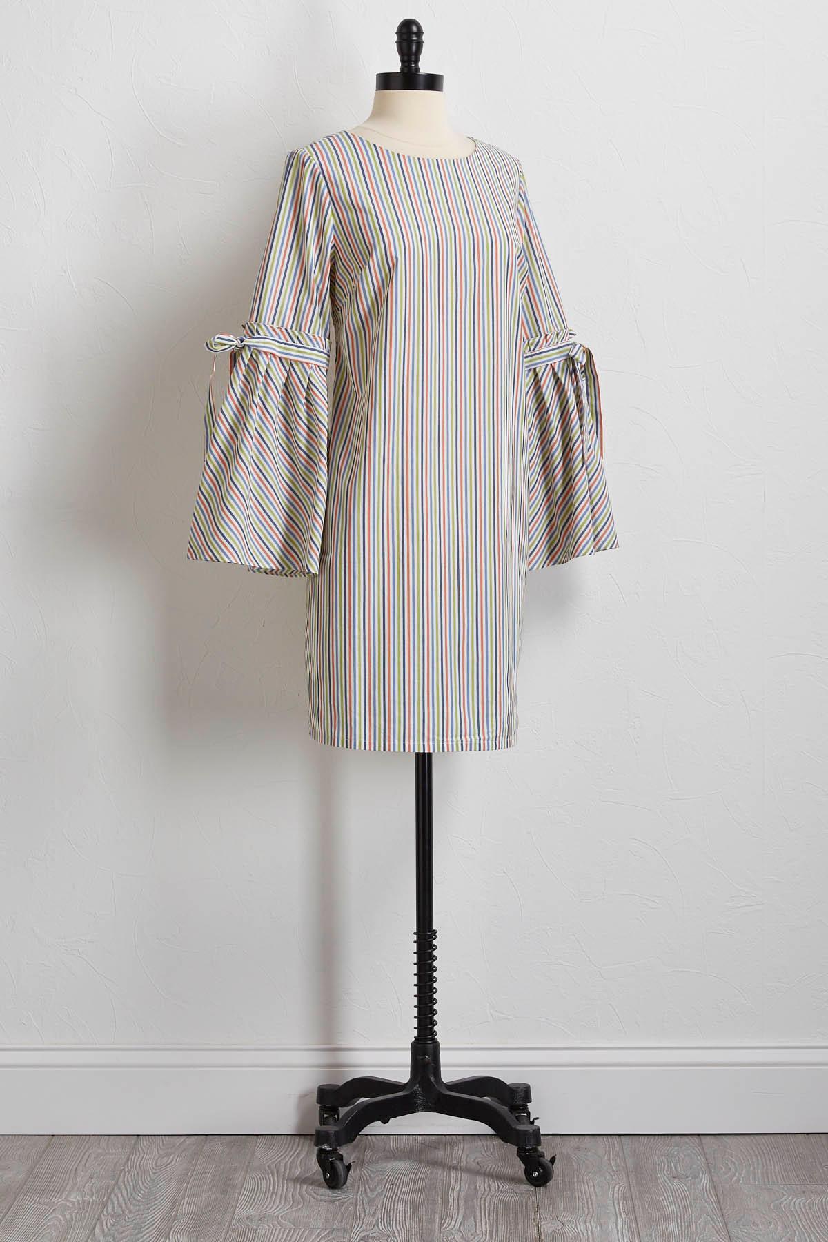 Striped Bell Sleeve Shift Dress