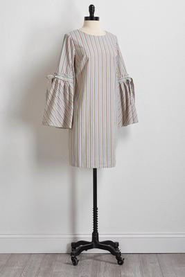 striped bell sleeve shift dress