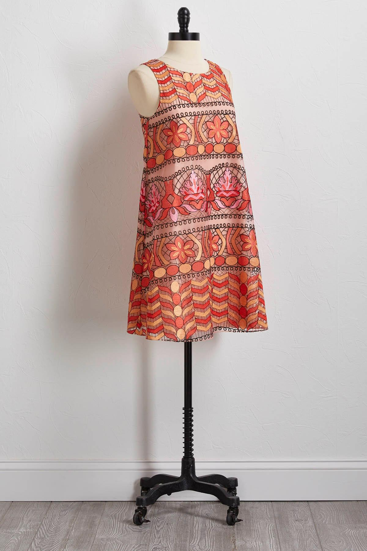 Stained Glass Embroidered Shift Dress