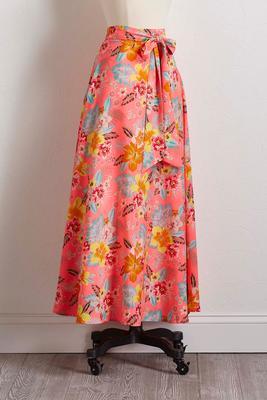 pink floral tie waist skirt