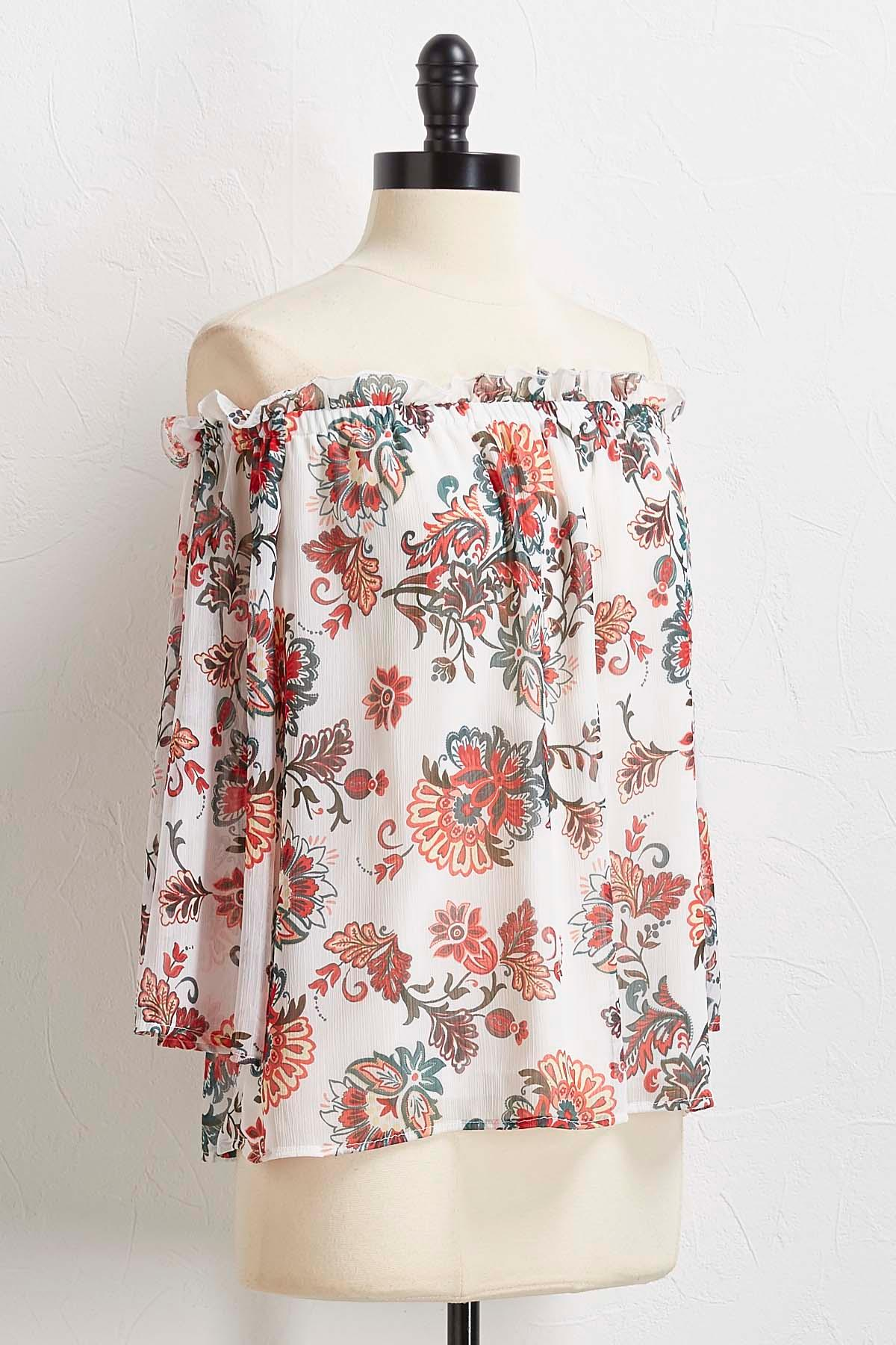 White Floral Off The Shoulder Top