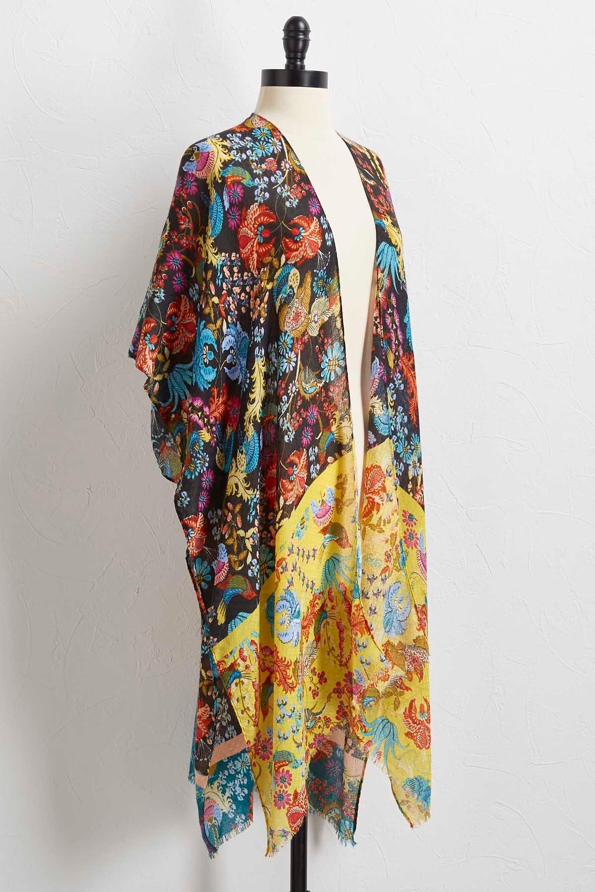 Fringy Patchwork Botanical Kimono