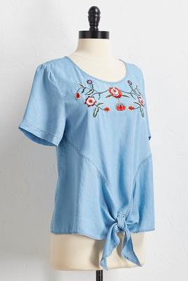 embroidered chambray tie front top