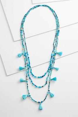 tasseled seed bead layered necklace
