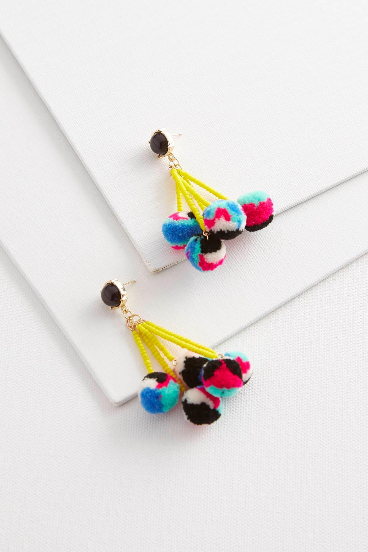 Dangling Bead Pom- Pom Earrings