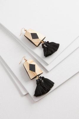 geo wood tassel earrings
