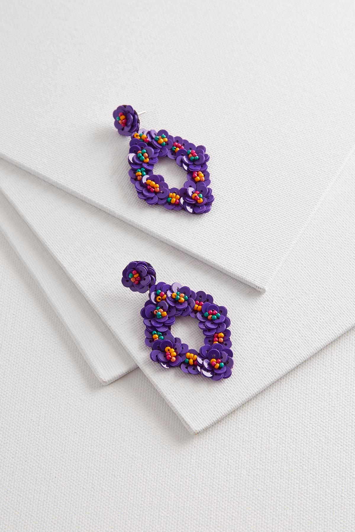 pin beaded hand earrings set purple floral couture flower bridesmaids sequin stud