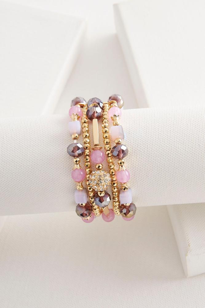 Layered Crystal Bead Stretch Bracelet