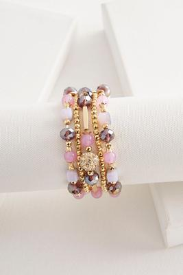 layered crystal bead stretch bracelet