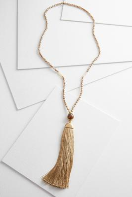 glimmering bead tassel necklace