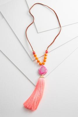 braided cord tassel necklace