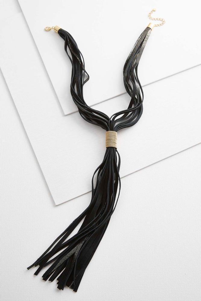 Metallic Faux Suede Lariat Necklace