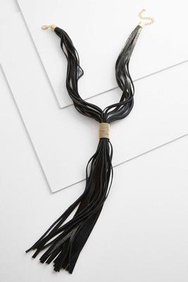 metallic faux suede lariat necklace