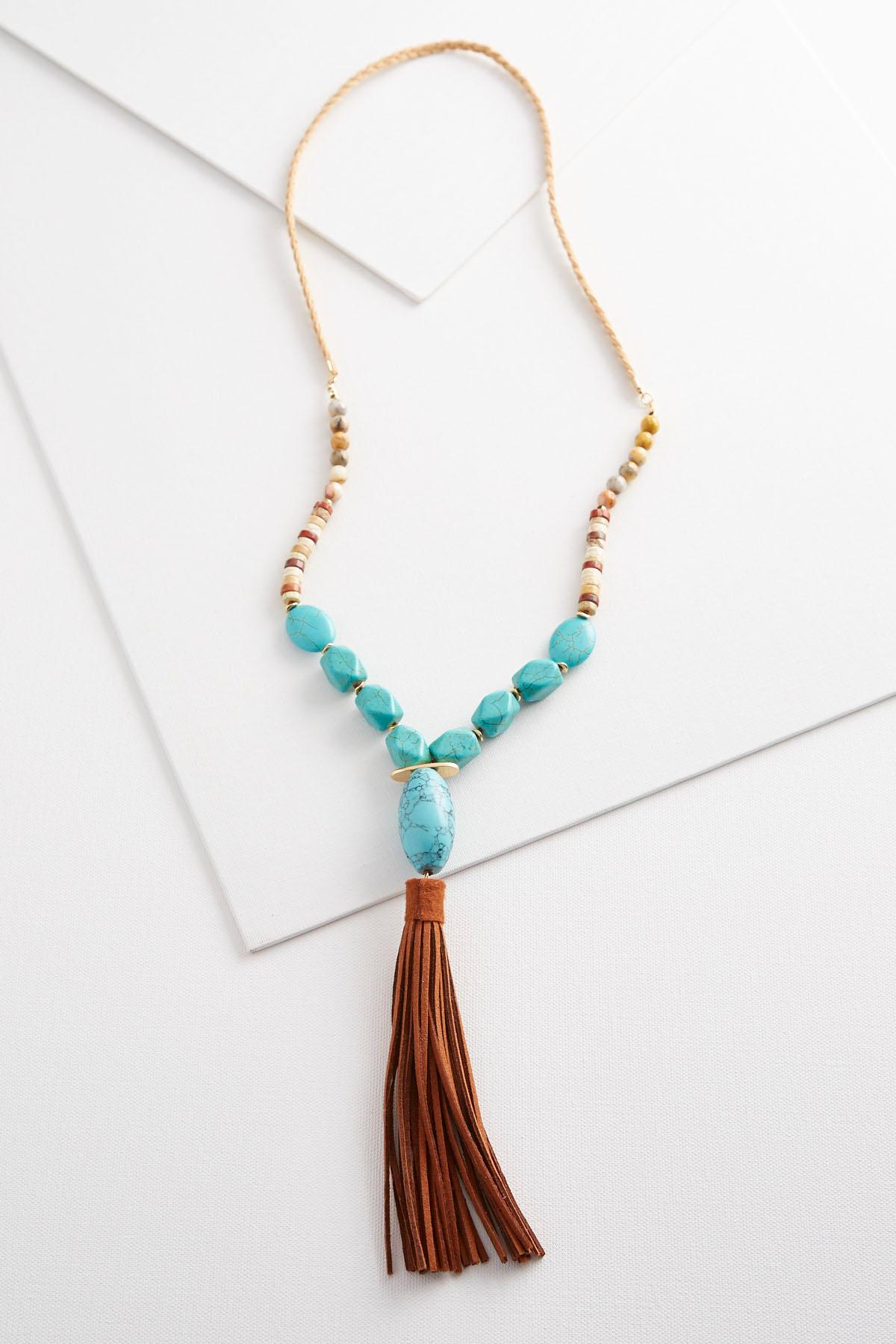 necklace fairhaven jewelry tassel ivory duo